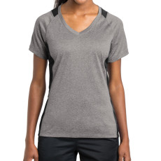 Sport-Tek Ladies Heather Colorblock Contender V-Neck Tee (Apparel)