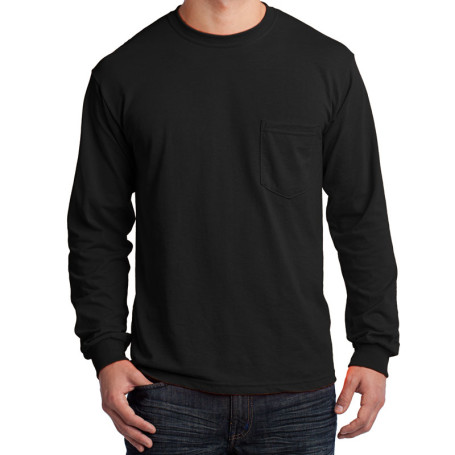 Gildan - Ultra Cotton 100% Cotton Long Sleeve T-Shirt with Pocket (Apparel)