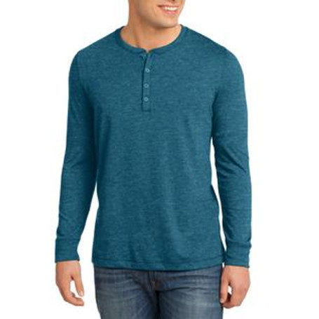 District Young Mens Gravel Long Sleeve Henley Tee