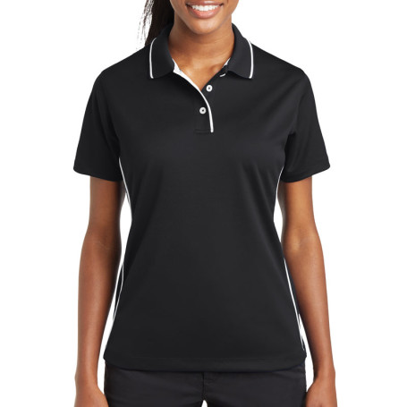 Sport-Tek Ladies Dri-Mesh Polo with Tipped Collar and Piping