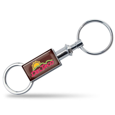 Logo Printed Rectangular Valet Key Chain