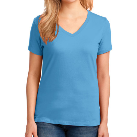 Port & Company Ladies 5.4-oz 100% Cotton V-Neck T-Shirt (Apparel)