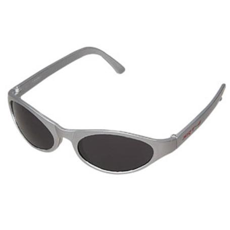 Metallic Silver Frame Wrap Style Sunglasses