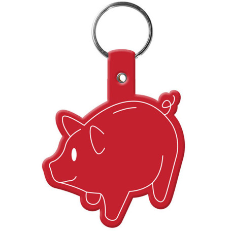 Promotional Piggy Bank Flexible Key-Tag