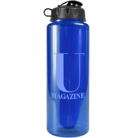 Promotional 32 oz. Transparent Bottle with Flip Lid