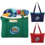 Custom Logo Color Pop Zippered Cotton Boat Tote