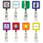 Printed Square Plastic Retractable Badge Holder with Standard Clip