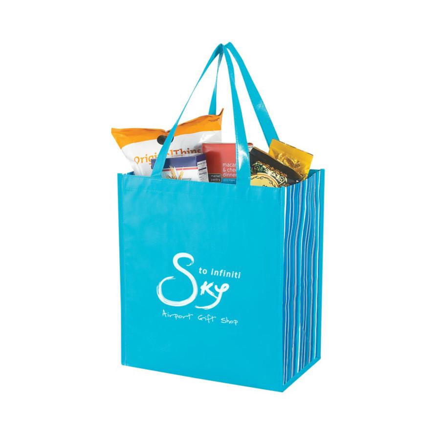 7a1fb391392 Logo Shiny Laminated Non-Woven Tropic Shopper Tote Bag