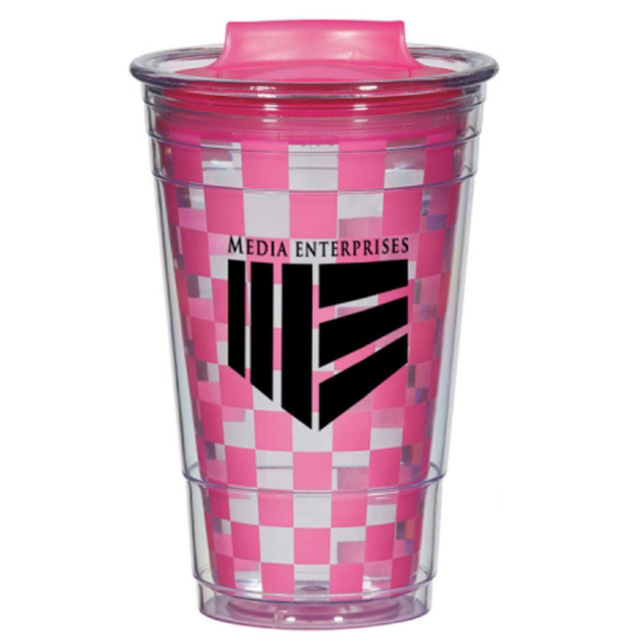 16 Oz. Color Changing Checker Tumbler