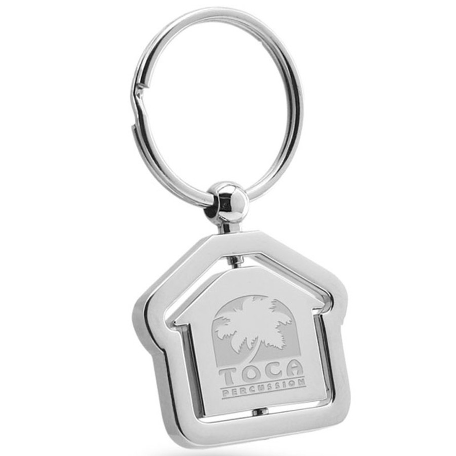Engraved House Center Swivel Silver Keychain