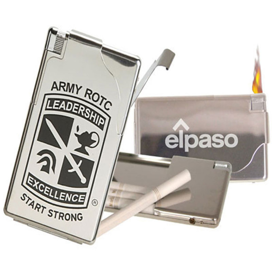 Imprinted Cigarette Case w/Electronic Lighter