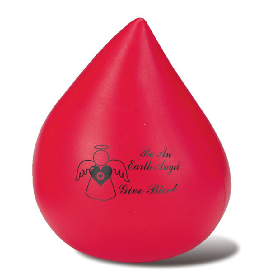Monogrammed Red Blood Drop Stress Reliever