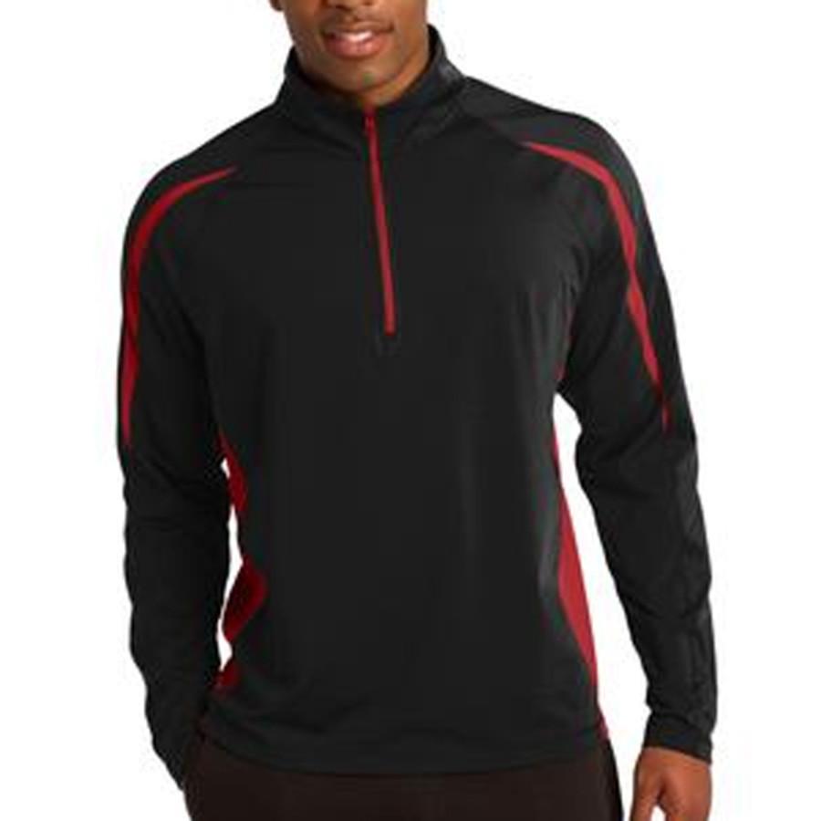 Sport-Tek Sport-Wick Stretch 1/2-Zip Colorblock Pullover