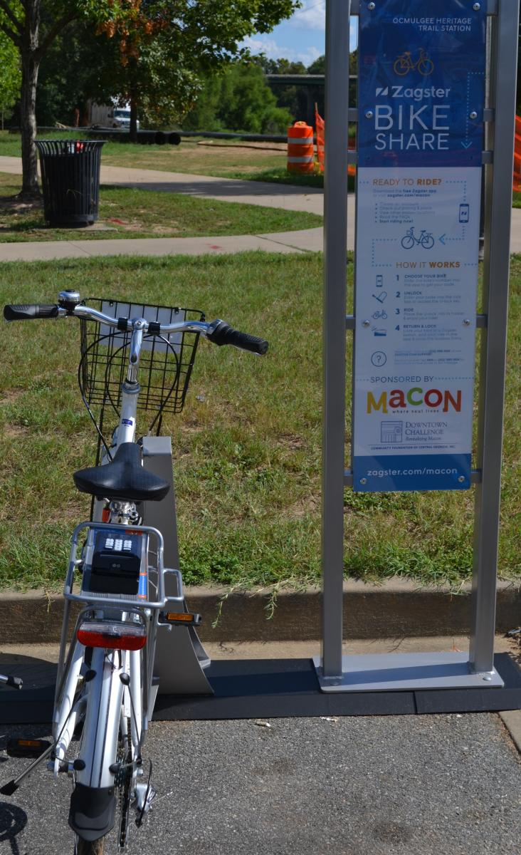 Macon Bike Share station at the Ocmulgee Heritage Trail