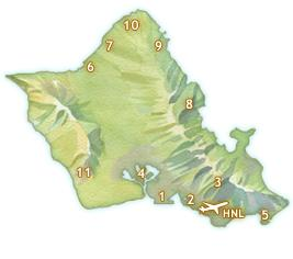 Driving times from Waikiki Map