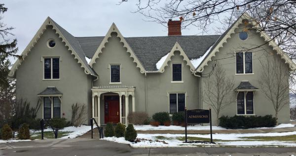 Exterior of Admissions office at Hobart and William Smith College, once the home of author Sarah Bradford