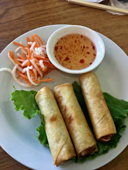 Pho 36 egg rolls are crispy and delicious.