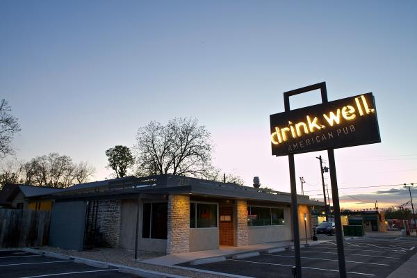 drink well exterior at twilight