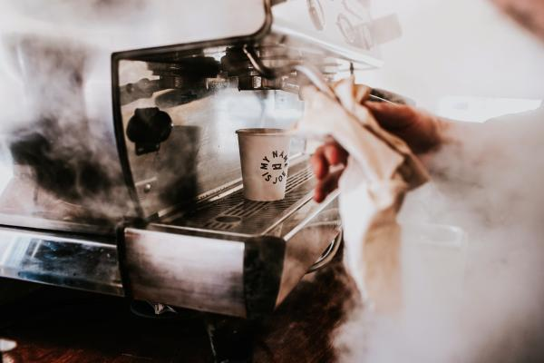 Steam from espresso machine at My Name Is Joe Coffee Co