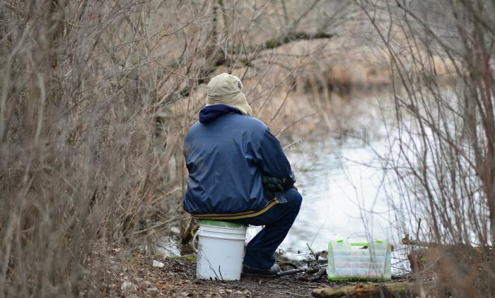 Fishing from Reeds Lake
