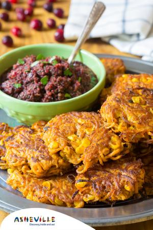 Sweet Potato Fritters with Cranberry Relish #Recipe | ExploreAsheville.com