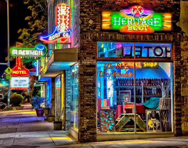 Heritage Boot exterior with neon signs and lights