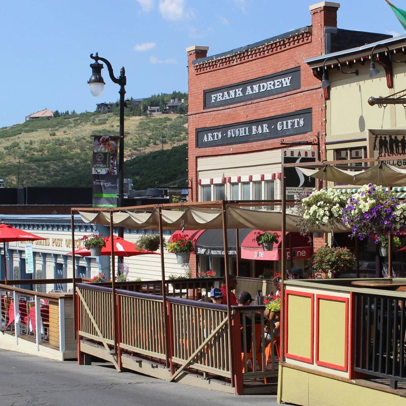 Restaurants and shops in downtown Park City