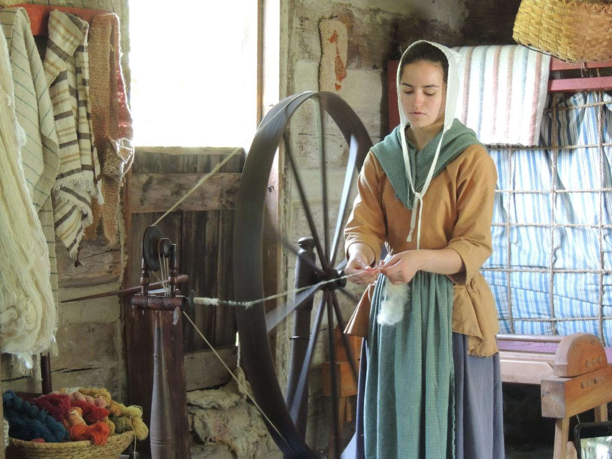 Spinning Demonstrations in the Cabin at Quiet Valley