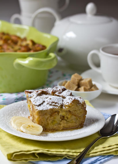 Banana Bread Pudding made with Croissants | ExploreAsheville.com