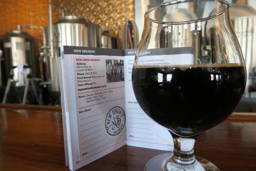 Brewsader passport and New Union Brewery beer in Lowell, MI