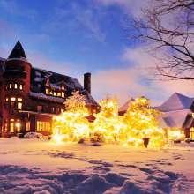 Winter scene Belhurst Castle on Seneca Lake
