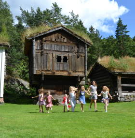 Kristiansand museum old houses and happy children