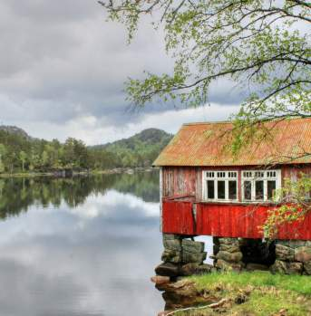 Old boat house Kvinesdal southern Norway