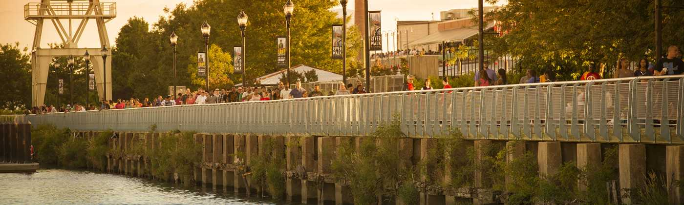 Crowded Riverwalk in Wilmington, Delaware