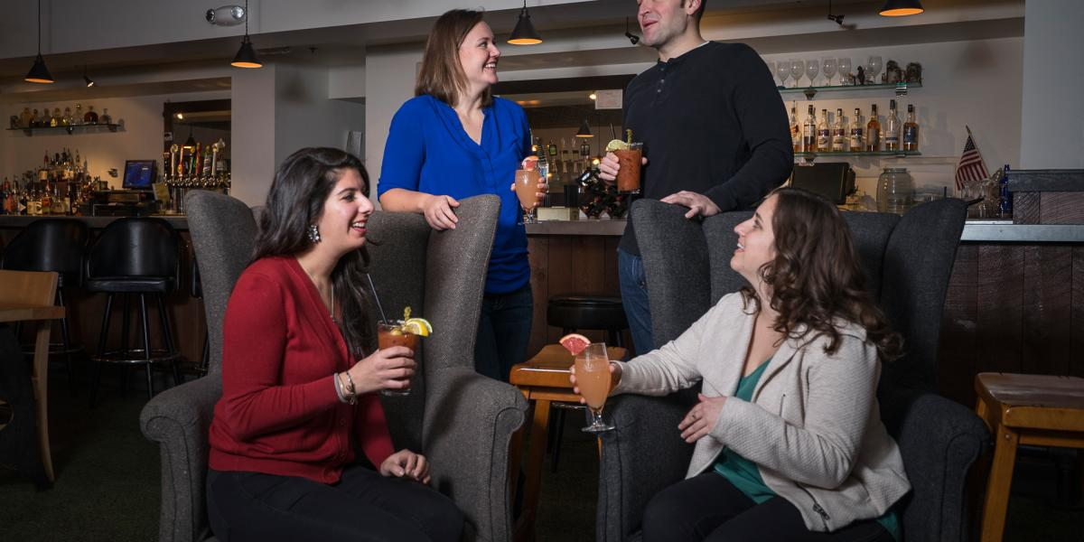 Group Enjoying Beverages at Rockwell