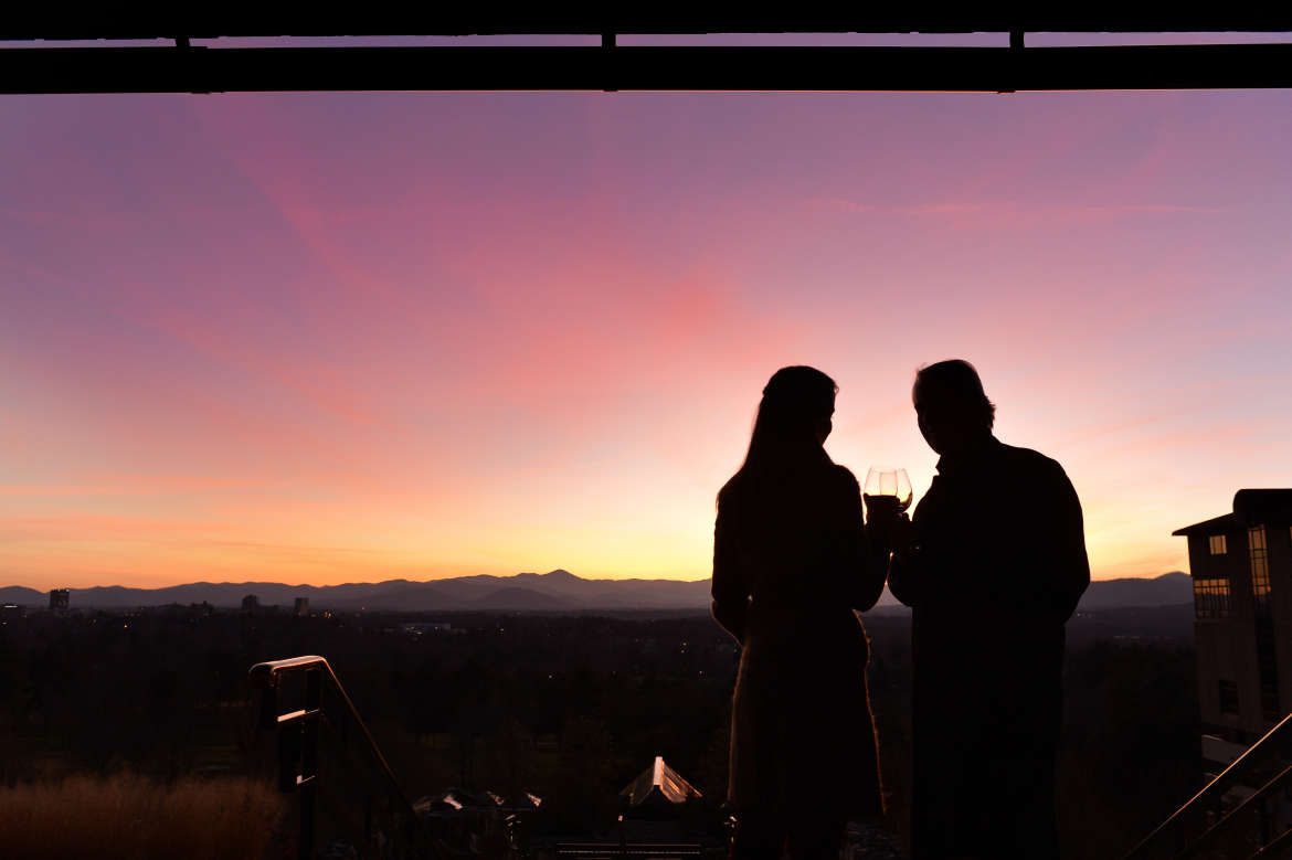 Couple at Sunset Terrace at the Omni Grove Park Inn