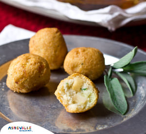 Apple Stuffed Hush Puppies #Recipe| ExploreAsheville.com