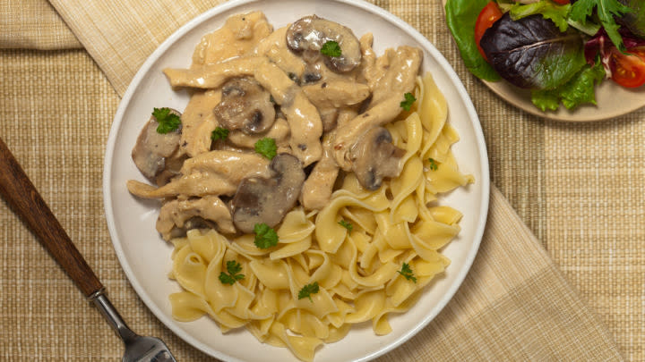 Chicken stroganoff, the ultimate comfort food.