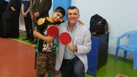 Amirabbas, a young kidney reciipent, with Transplant Australia CEO Chris Thomas at the Iranian Transplant Games.