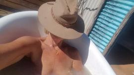 Having a mud bath in Eulo.