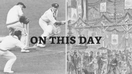 Don Bradman and a depiction of the 1827 Mardi Gras.