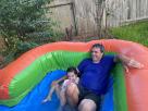 Grandpa Birthday Rainbow Modern Bounce House Combo