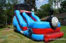 Train inflatable blue slide