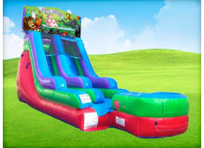 15ft Happy Birthday Animal Retro Wet/Dry Slide