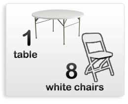 Round Table White Chairs For Rent
