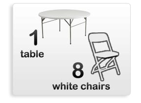 1 5ft Adult Round Table & 8 White Chairs Combo