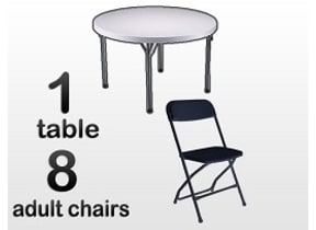 1 5ft Adult Round Table & 8 Black Chairs Combo