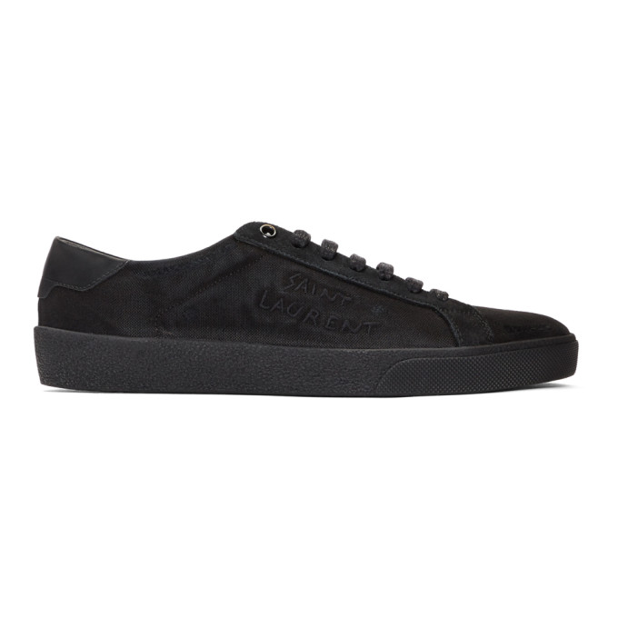 Alexander McQueen Black Damaged Canvas Court Classic SL06 Sneakers 29U2peqlu
