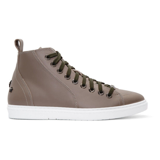 Jimmy choo Taupe Leather Colt High-Top Sneakers TBw54KlWH