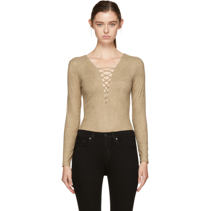 Manchester Great Sale For Sale T By Alexander Wang Woman Lace-up Stretch-jersey Bodysuit Camel Size 0 Alexander Wang Clearance Explore Shop For Cheap Online IqLlHPkkK